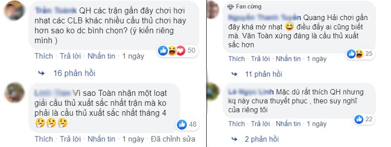 Fan tranh cãi Quang Hải hay Văn Toàn mới là cầu thủ xuất sắc nhất tháng 4 và cơn đau đầu dễ chịu của thầy Park - Ảnh 2.