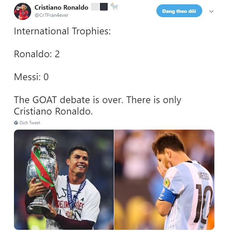 Messi bị troll không thương tiếc trên mạng xã hội sau khi Ronaldo giành thêm danh hiệu với ĐT Bồ Đào Nha - Ảnh 5.