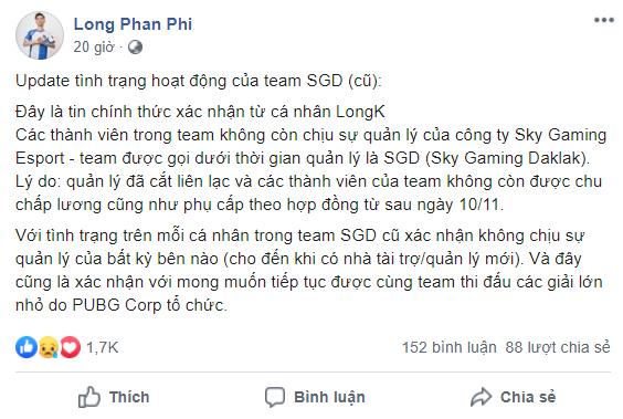 Từng lên tiếng bảo vệ quản lý SGD giữa thềm drama với Team Flash, LongK bất ngờ tố cáo đội PUBG không được trả lương - Ảnh 1.