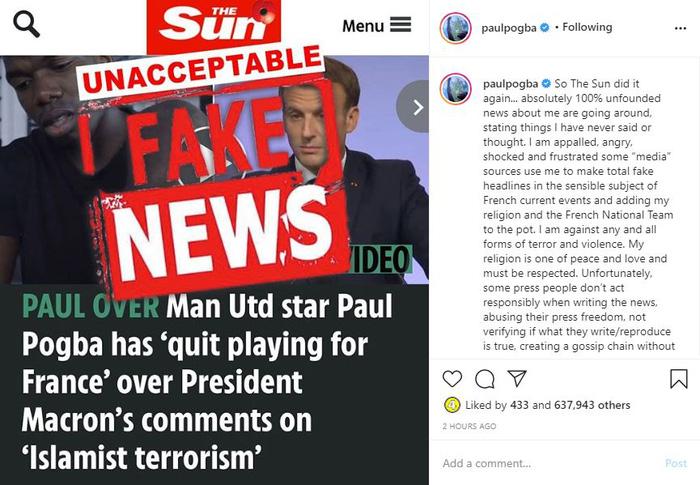 The Sun phải xóa bài và sửa sai sau khi bị Pogba công khai chỉ trích kịch liệt - Ảnh 1.