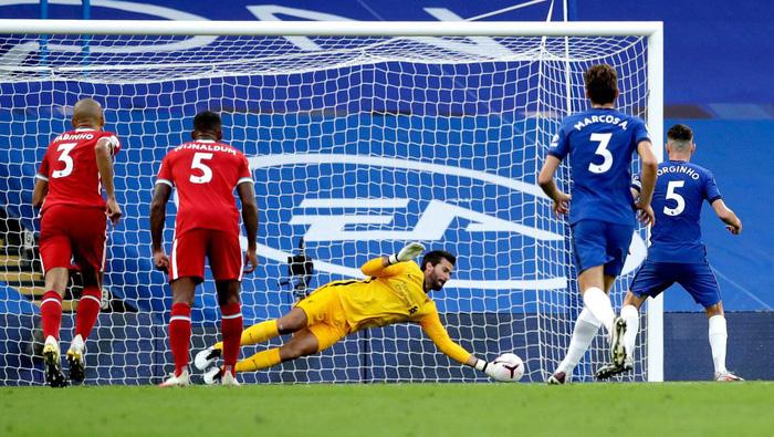 """Cú đá 11m """"chân sáo"""" quen thuộc của Jorginho lại không thể đánh bại được thủ thành Alisson."""