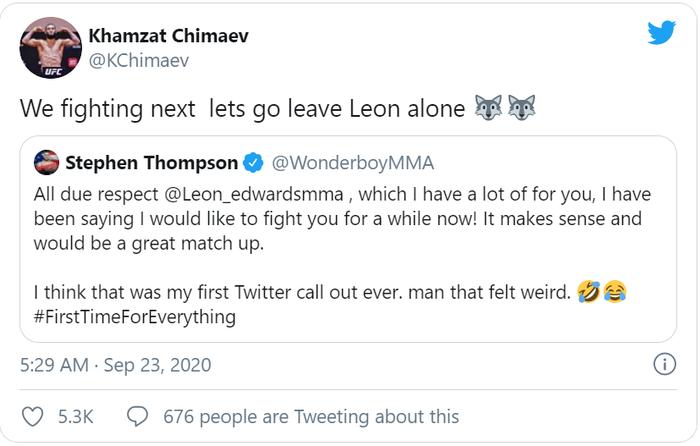 """Hiện tượng Khamzat Chimaev lên tiếng thách đấu """"Wonderboy"""" Stephen Thompson, chờ Chủ tịch Dana White lên kèo - Ảnh 1."""