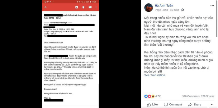 Một tuyển thủ Việt Nam viết tâm thư cho ca sĩ Hà Anh Tuấn xin book vé show ca nhạc - Ảnh 1.