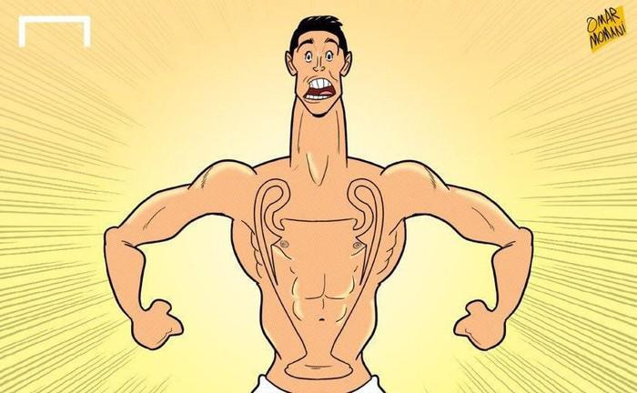 Phong độ thần kỳ của Ronaldo hiện lên đầy hài hước qua những nét vẽ biếm họa - Ảnh 1.