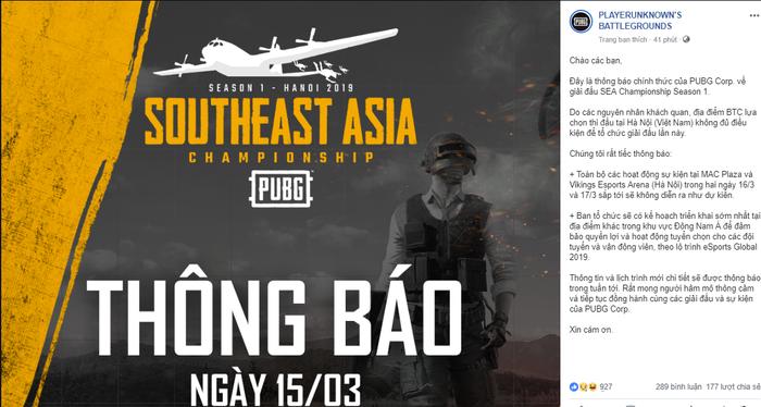 Giải đấu PUBG lớn bậc nhất tại Việt Nam năm 2019 bất ngờ bị hủy ngay trước ngày tranh tài - Ảnh 1.