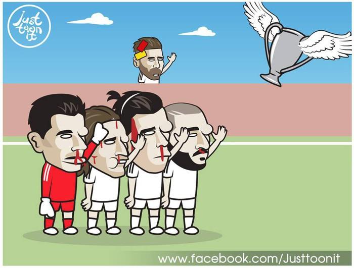 Loạt ảnh biếm họa hóm hỉnh về thất bại đen tối bậc nhất lịch sử Real Madrid - Ảnh 2.
