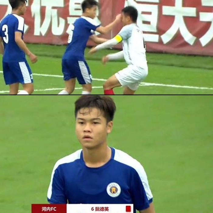 Cầu thủ U17 Hà Nội đấm thẳng mặt khiến đối thủ Trung Quốc khâu 6 mũi - Ảnh 1.