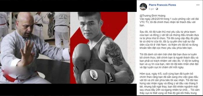Cho rằng đối thủ thiếu thiện chí, Trương Đình Hoàng chính thức hủy kèo đấu được chờ đợi với võ sư Flores - Ảnh 2.