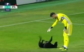 Chú chó siêu đáng yêu xen ngang trận derby, nằm ngửa ra sân đòi gãi bụng