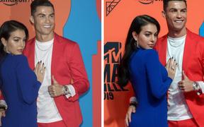 """Trước hàng trăm máy quay, Ronaldo vẫn để bàn tay """"hư hỏng"""" khiến fan phải thốt lên: """"Anh không cưỡng được sức hút của bạn gái rồi"""""""