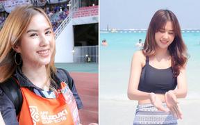 Ngẩn ngơ trước nhan sắc của phóng viên đẹp nhất xứ Chùa Vàng, bạn gái tin đồn của anh chàng tiền đạo kém 3 tuổi của U23 Thái Lan