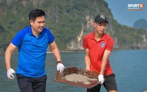 """CLB Than Quảng Ninh và ông bầu tham gia """"thử thách dọn rác"""" ở Vịnh Hạ Long"""