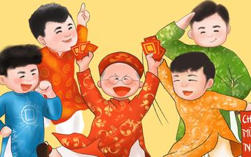 Chiêm ngưỡng loạt ảnh chibi Công Phượng, Quang Hải mặc áo dài đón Tết yêu ngất ngây