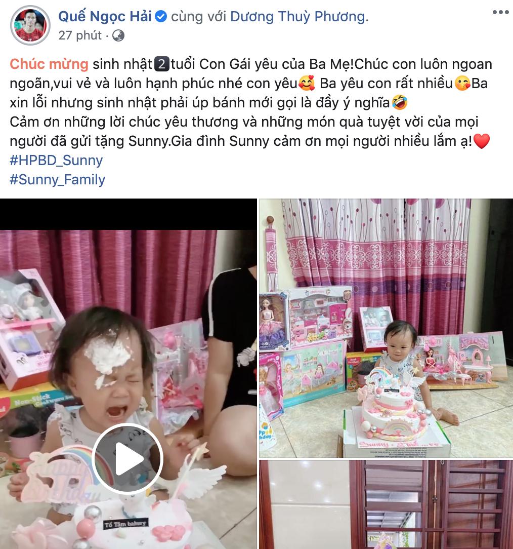 """""""Lầy như Quế Ngọc Hải: Úp bánh sinh nhật vào mặt con gái làm Sunny khóc thét đáng thương trong ngày tròn 2 tuổi - Ảnh 3."""
