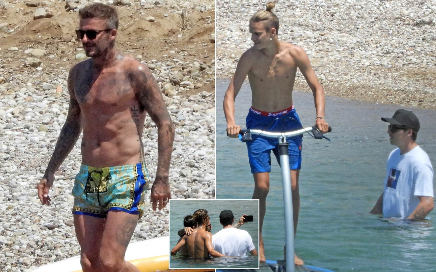 David Beckham nổi bần bật với body căng đét khi ra biển cùng dàn quý tử nhưng gây chú ý nhất lại là chiếc quần bơi sặc sỡ có giá 11 triệu đồng