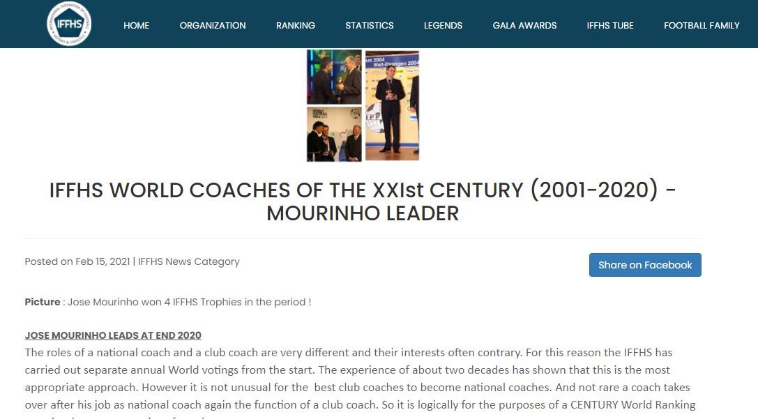 Vượt mặt cả Pep và Ferguson, Mourinho được vinh danh là huấn luyện viên xuất sắc nhất từ đầu thế kỷ - ảnh 1