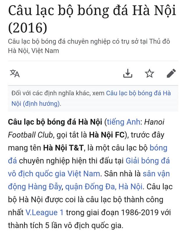 Fan Hà Nội FC kêu trời vì loạt thông tin pha ke thiếu văn hóa về đội bóng con cưng trên Wikipedia - ảnh 2