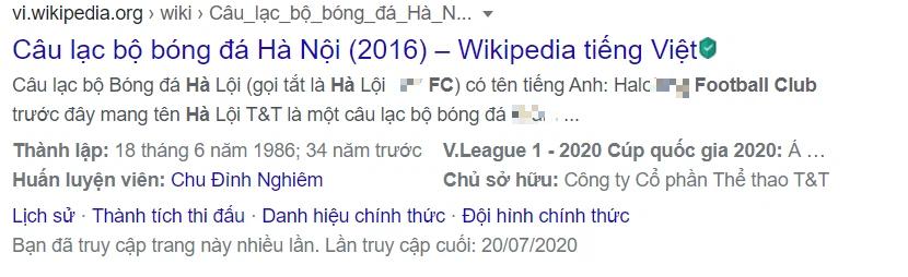 Fan Hà Nội FC kêu trời vì loạt thông tin pha ke thiếu văn hóa về đội bóng con cưng trên Wikipedia - ảnh 1
