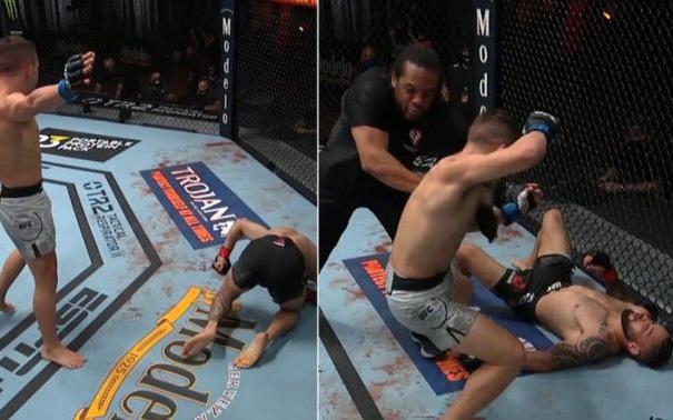 """Trọng tài phán quyết không rõ ràng, võ sĩ UFC đang ăn mừng đành phải quay lại """"đánh tiếp"""""""