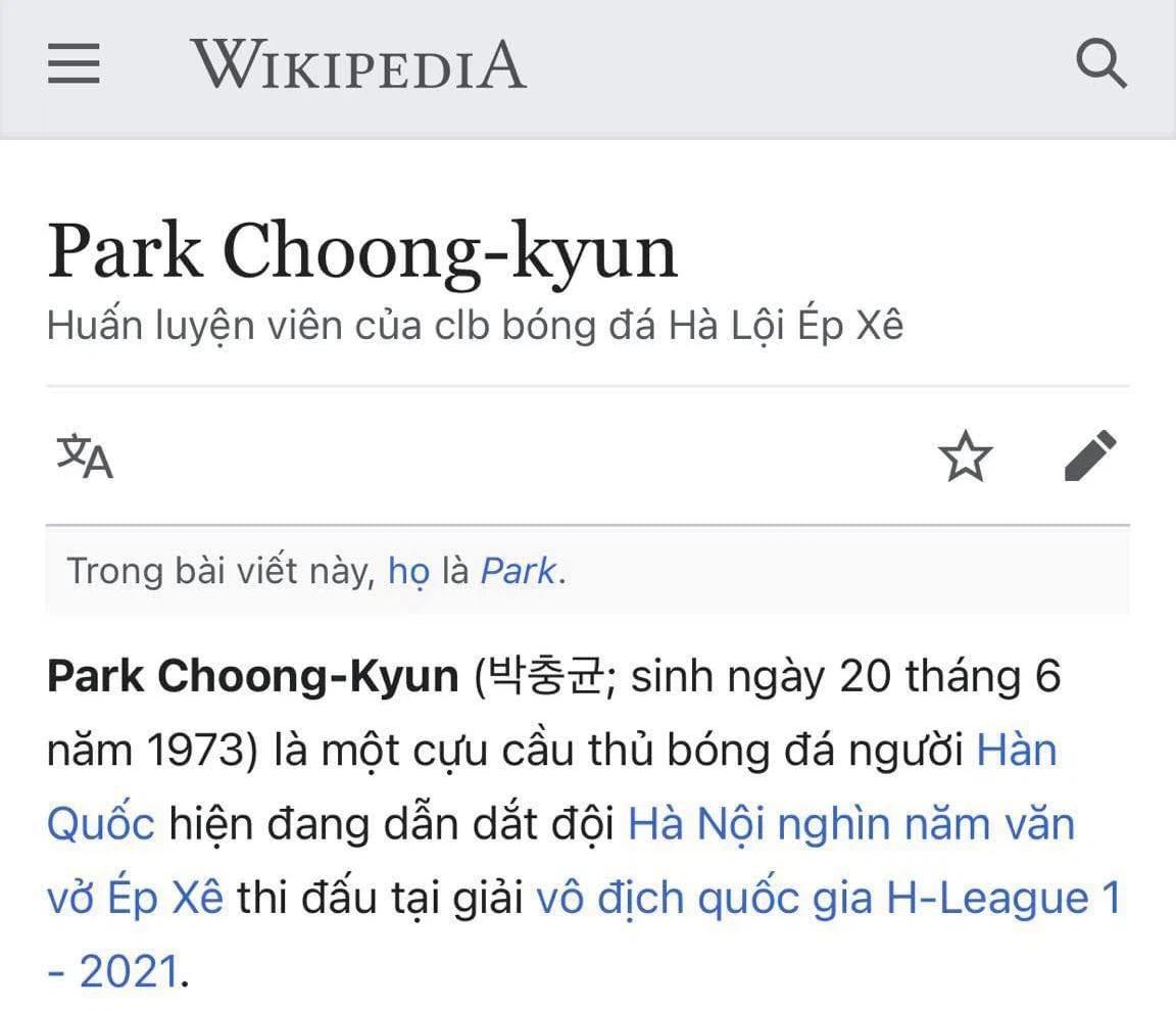 Tân HLV Hà Nội FC bị sửa đổi thông tin tiêu cực trên Wikipedia - ảnh 1