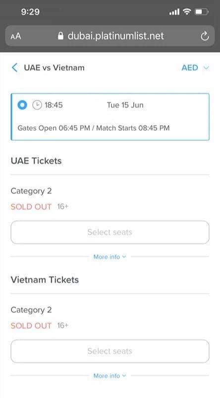 Phía UAE phản hồi thông tin CĐV Việt Nam gặp khó khăn khi mua vé xem trận Việt Nam gặp UAE - Ảnh 1.