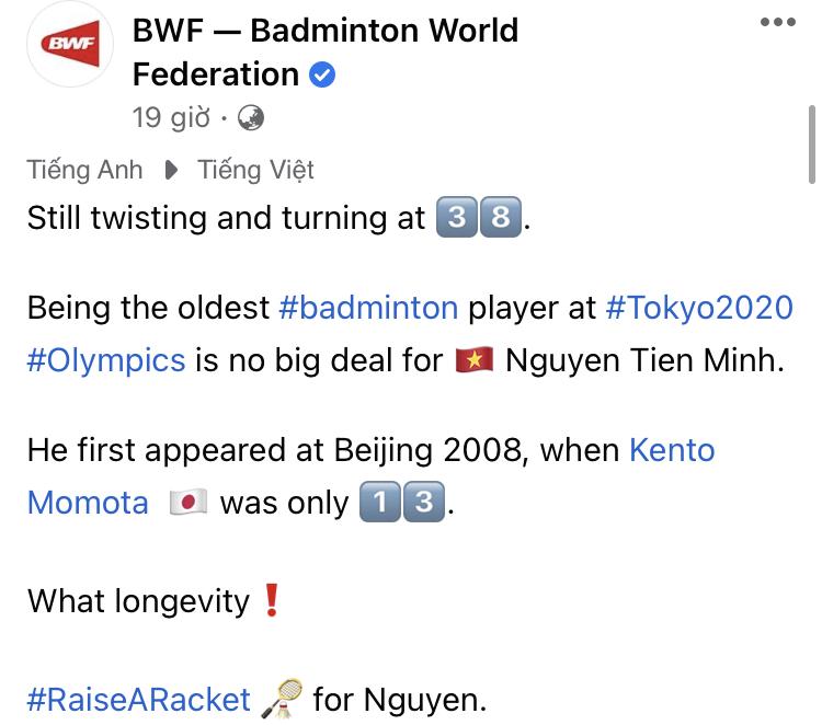 VĐV Nguyễn Tiến Minh nhận lời khen ngợi đặc biệt từ Liên đoàn cầu lông thế giới tại Olympic Tokyo 2020 - ảnh 1