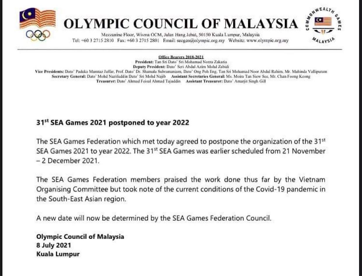 Chính thức: Hoãn SEA Games 2021 tại Việt Nam sang năm 2022 - Ảnh 1.