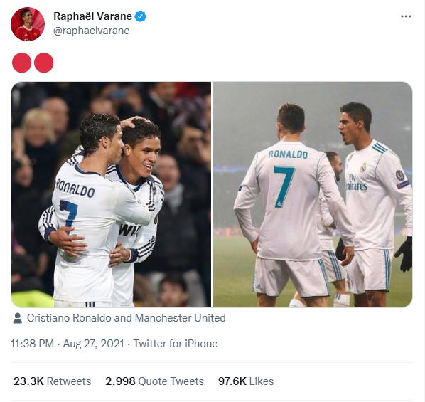 Raphael Varane lập tức gợi lại những khoảnh khắc của anh và Ronaldo trong màu áo Real Madrid.
