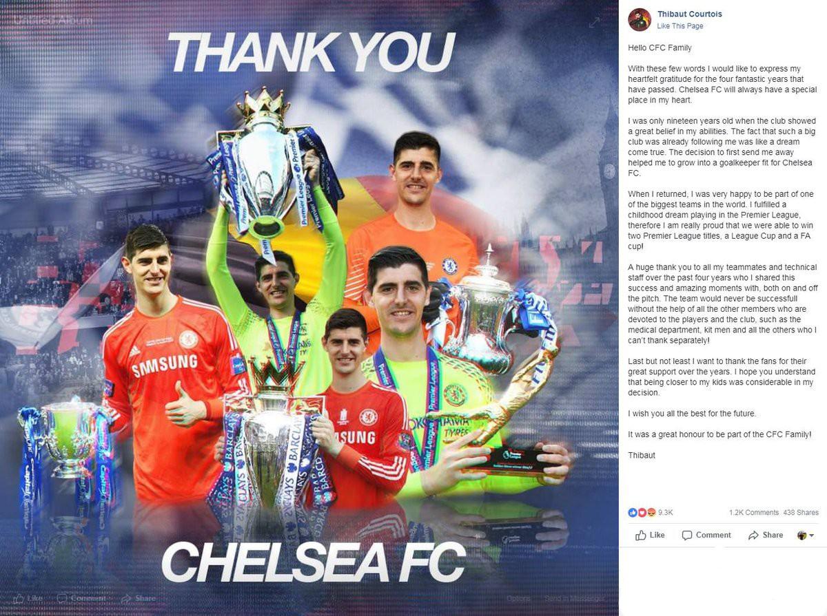Găng tay vàng World Cup 2018 viết tâm thư xúc động tri ân Chelsea nhưng xóa bỏ ngay sau khi đăng lên - Ảnh 1.