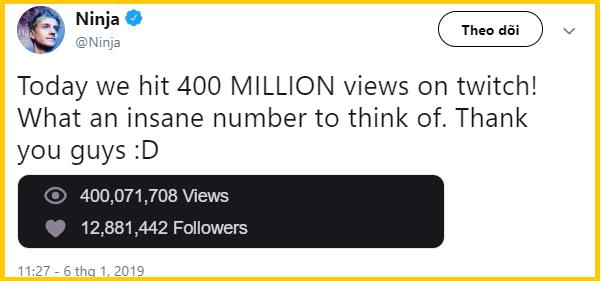 Điểm tin Esports 7/1: Ninja tiếp tục tạo nên kỷ lục mới, 400 triệu lượt xem trên Twitch - Ảnh 1.