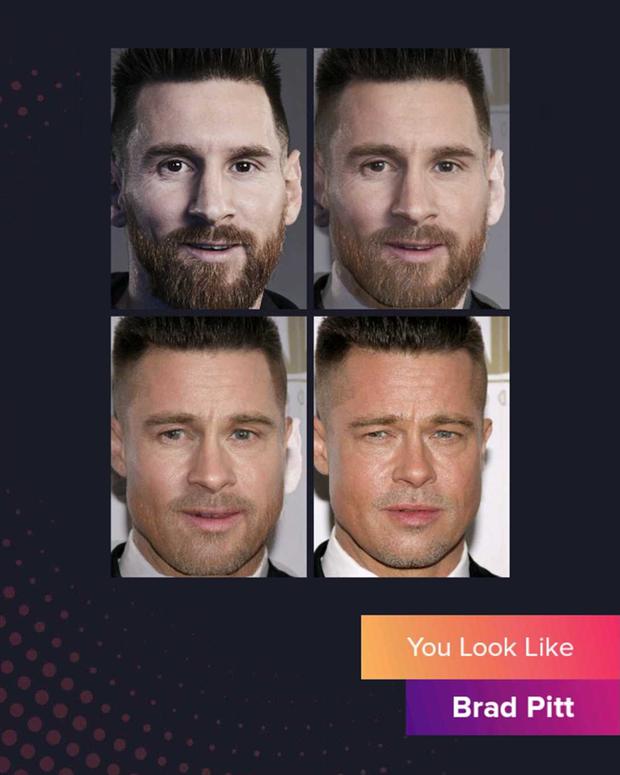 Cười đau bụng với chùm ảnh siêu sao bóng đá biến thành tài tử điện ảnh thông qua app Bạn giống ai: Messi hóa Brad Pitt, Ronaldo như Tom Cruise - Ảnh 3.