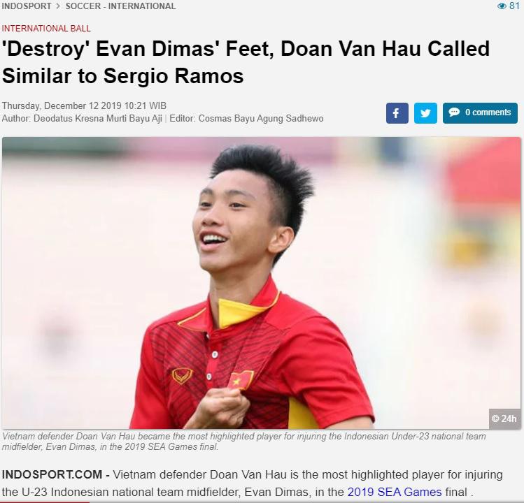 Evan Dimas chấn thương không nặng, báo Indonesia vẫn không buông tha: Văn Hậu cố tình giết đồng nghiệp - Ảnh 1.