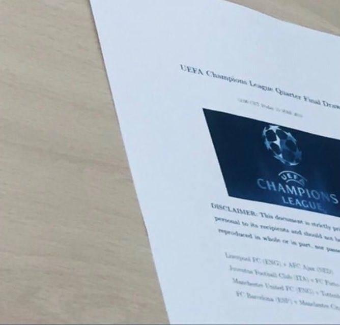 Nghi vấn: Kết quả bốc thăm tứ kết Champions League bị lộ? - Ảnh 1.