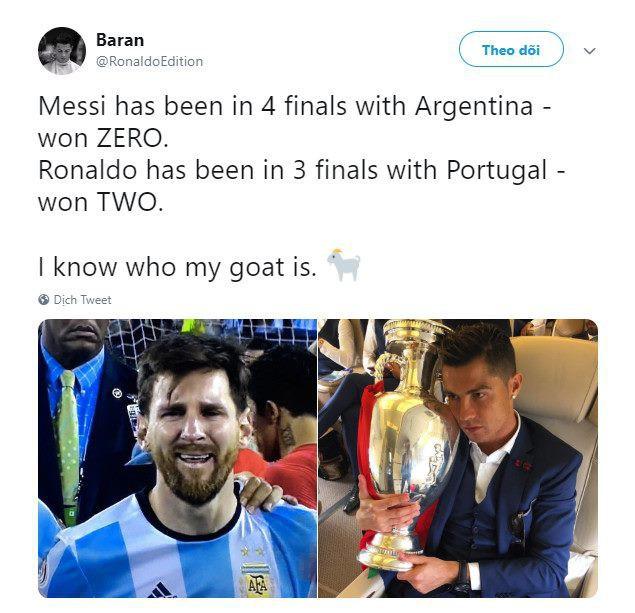 Messi bị troll không thương tiếc trên mạng xã hội sau khi Ronaldo giành thêm danh hiệu với ĐT Bồ Đào Nha - Ảnh 3.