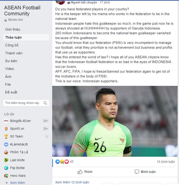 Fan Indonesia tiết lộ chuyện gây sốc: Thủ môn nhận 3 bàn thua trước Thái Lan được lên tuyển là nhờ mẹ cơ cấu? - Ảnh 1.