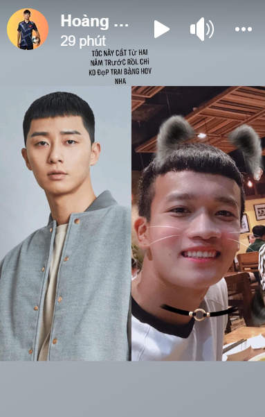 Nam thần U23 Việt Nam khoe tóc giống Park Seo-joon trong Itaewon Class: Tự nhận kém sắc hơn nhưng vẫn cực đáng yêu - Ảnh 1.