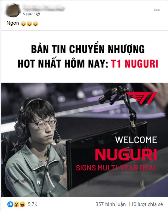 Hàng loạt fanpage Việt Nam đưa tin T1 chiêu mộ thành công Nuguri, thực hư ra sao? - Ảnh 2.
