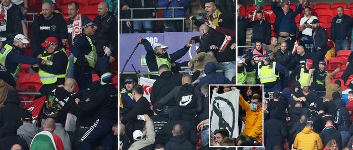 Vòng loại World Cup 2022: Fan quá khích ném mưa chai lọ khiến đội khách tức giận bỏ khỏi sân, cảnh sát Anh bị hooligans đuổi đánh ngay tại Wembley - Ảnh 9.