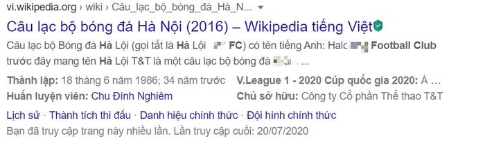 Fan Hà Nội FC kêu trời vì loạt thông tin pha ke thiếu văn hóa về đội bóng con cưng trên Wikipedia - Ảnh 1.