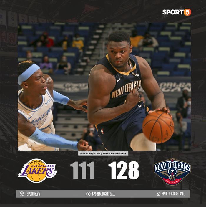 """Thiết lập kỷ lục cá nhân, Zion Williamson """"nhấn chìm"""" Los Angeles Lakers bằng trận thắng 17 điểm - Ảnh 1."""