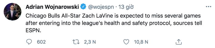"""Ngôi sao Zach LaVine vắng mặt hai tuần do Covid-19, Chicago Bulls lo """"sốt vó"""" - Ảnh 1."""