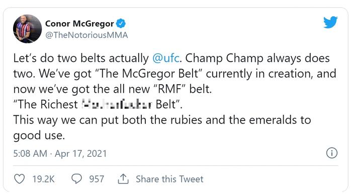 Conor McGregor yêu cầu UFC làm chiếc đai riêng để khoe độ giàu có - Ảnh 1.