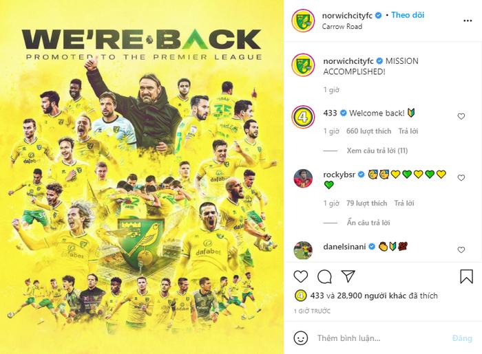 Norwich chính thức quay trở lại với Premier League chỉ sau một mùa bị xuống hạng - Ảnh 3.