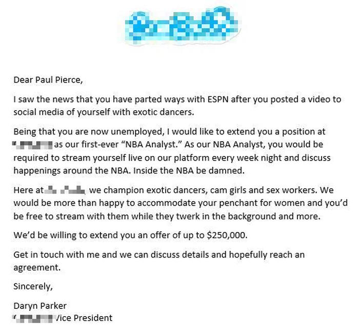Trang web khiêu dâm mời huyền thoại NBA Paul Pierce làm phân tích viên cùng... các vũ nữ thoát y - Ảnh 1.