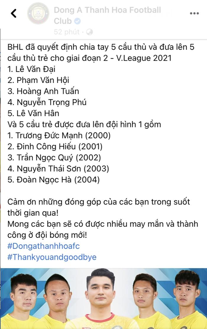 Thông báo của CLB Thanh Hoá (Ảnh chụp màn hình)