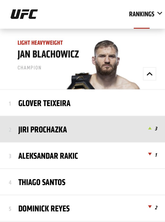 Hiện tượng Jiri Prochazka thăng tiến mạnh mẽ trên BXH của UFC, tiến gần tới suất tranh đai hạng dưới nặng - Ảnh 1.