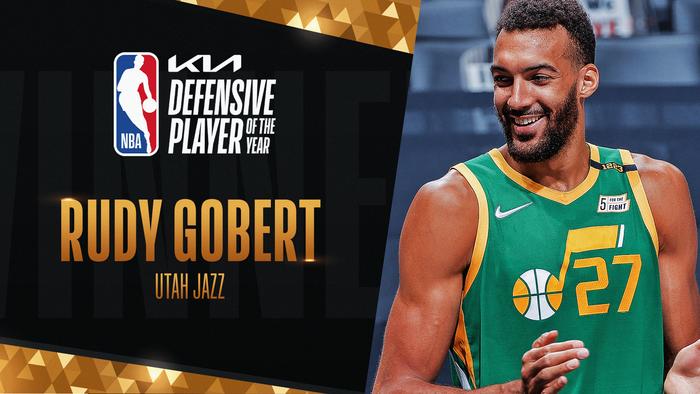 """Rudy Gobert đoạt danh hiệu """"Cầu thủ phòng ngự của năm"""" lần thứ 3 trong 4 mùa gần nhất - Ảnh 1."""