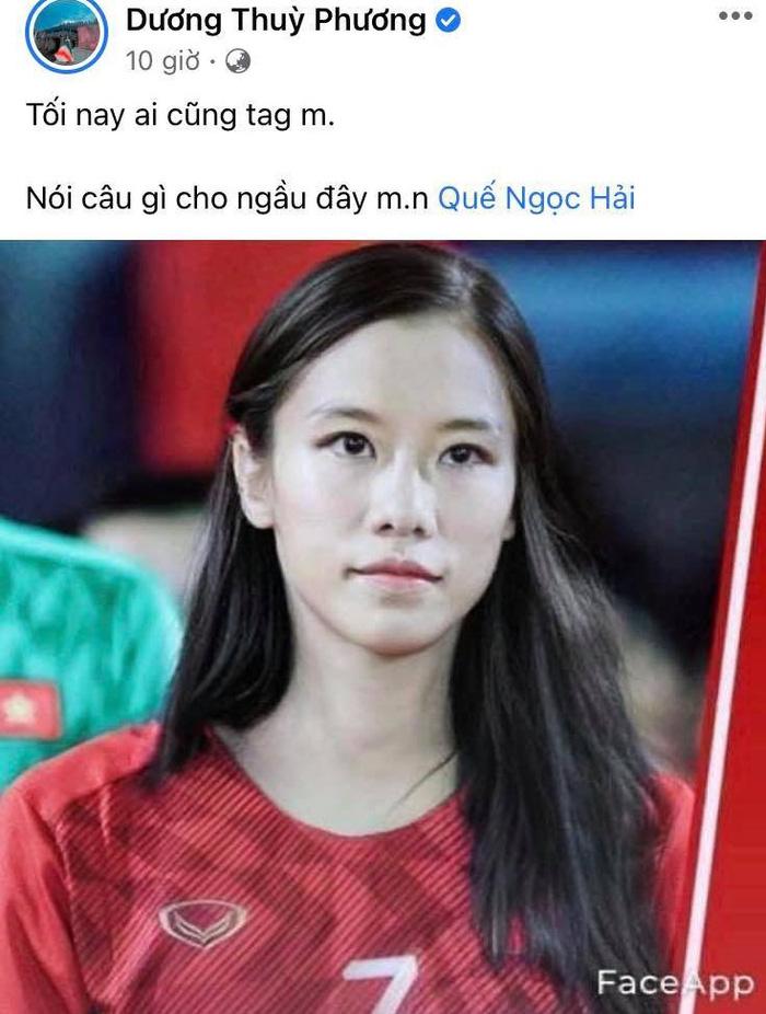Bã xã Quế Ngọc Hải thích thú với ảnh chế phiên bản nữ của các cầu thủ tuyển Việt Nam  - Ảnh 1.