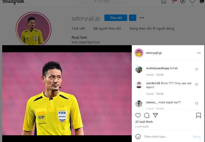Cổ động viên tìm đến nick fake của trọng tài Sato Ryuji xả hận, báo Malaysia cũng bị lừa - Ảnh 3.