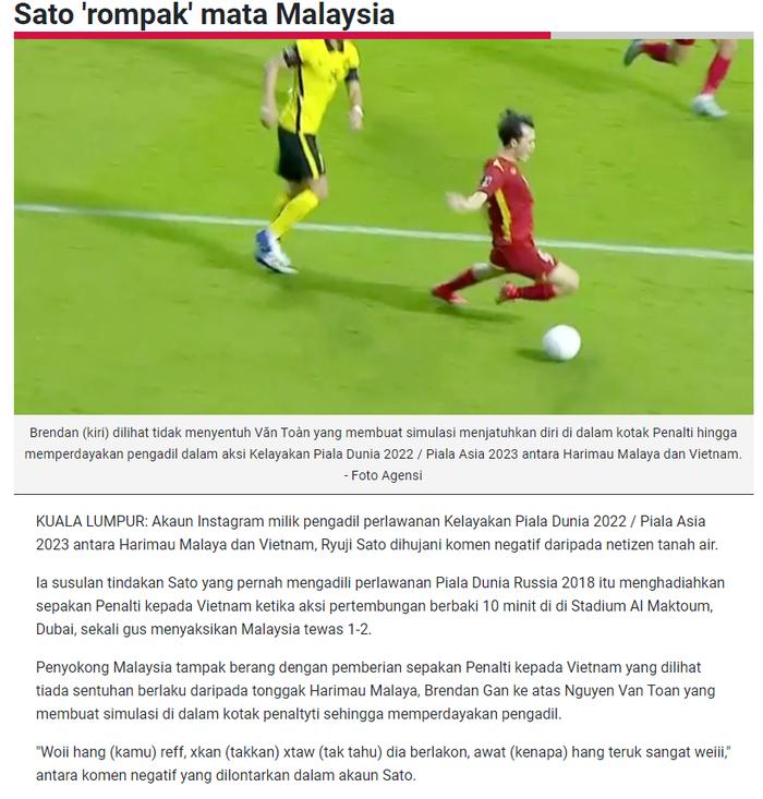 Cổ động viên tìm đến nick fake của trọng tài Sato Ryuji xả hận, báo Malaysia cũng bị lừa - Ảnh 4.